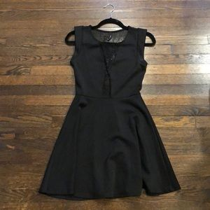 Black dress with mesh peekaboo and back